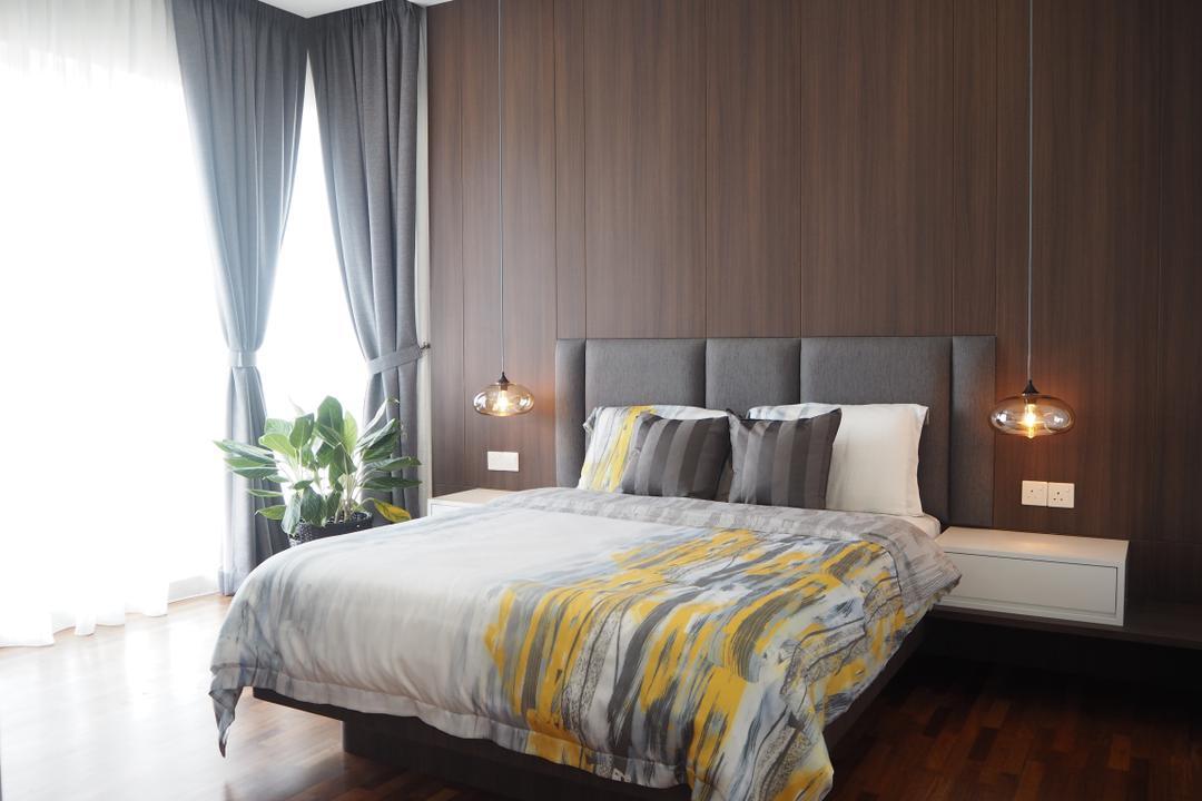 Cheras, Meridian Interior Design, Contemporary, Minimalistic, Bedroom, Landed, Light Fixture, Indoors, Interior Design, Room, Bed, Furniture, Flora, Jar, Plant, Potted Plant, Pottery, Vase