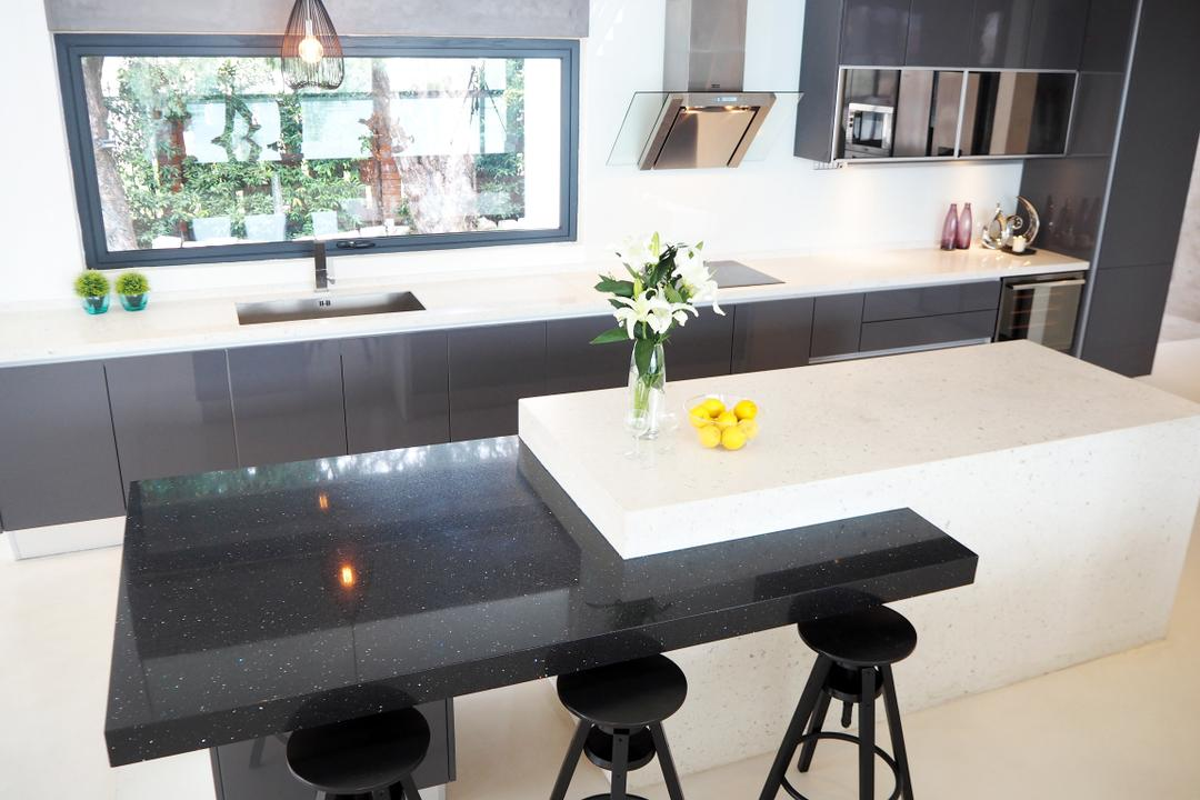 Bangsar, Meridian Interior Design, Contemporary, Kitchen, Landed, Bar Stool, Furniture, Dining Table, Table