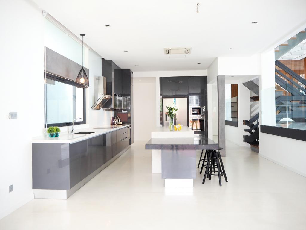 Contemporary, Landed, Kitchen, Bangsar, Interior Designer, Meridian Interior Design, Dining Table, Furniture, Table, Indoors, Interior Design, Curtain, Home Decor, Window, Window Shade