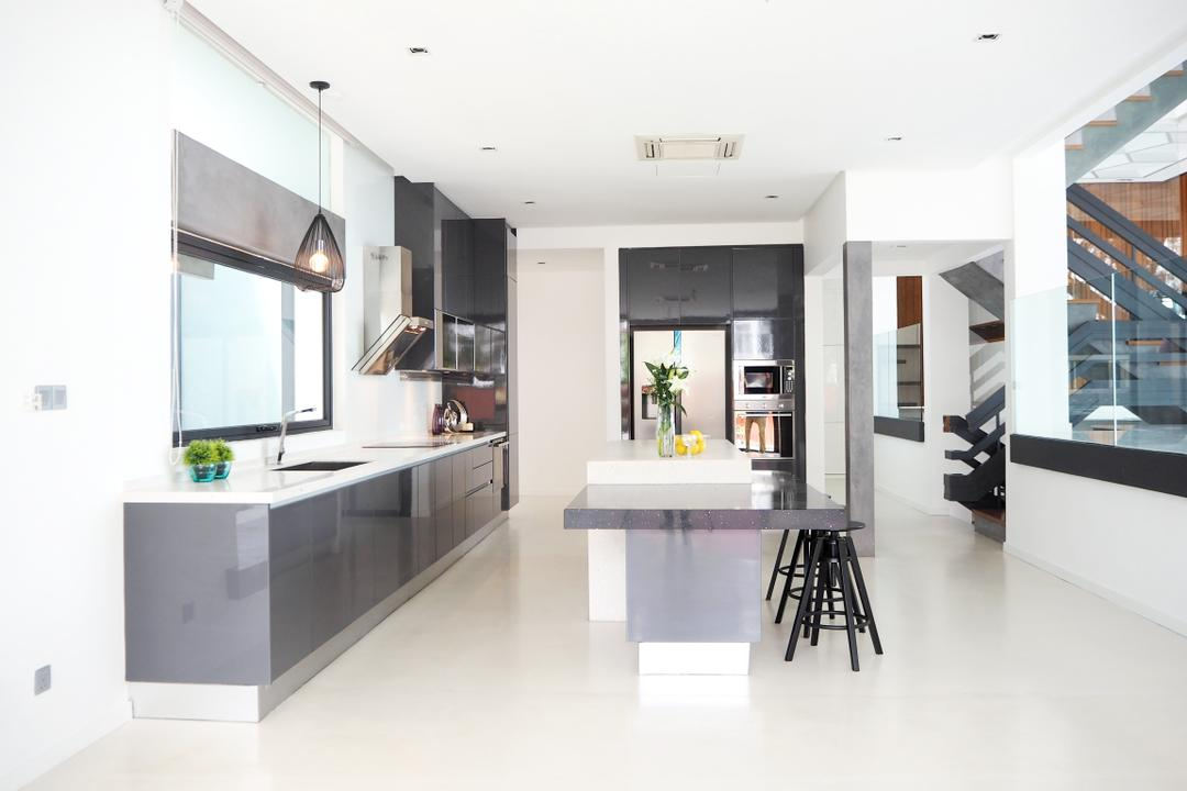 Bangsar, Meridian Interior Design, Contemporary, Kitchen, Landed, Dining Table, Furniture, Table, Indoors, Interior Design, Curtain, Home Decor, Window, Window Shade