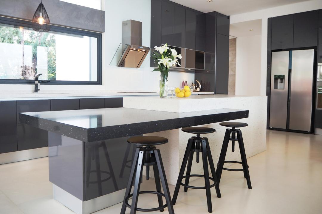 Bangsar, Meridian Interior Design, Contemporary, Kitchen, Landed, Dining Table, Furniture, Table, Bar Stool, Dining Room, Indoors, Interior Design, Room