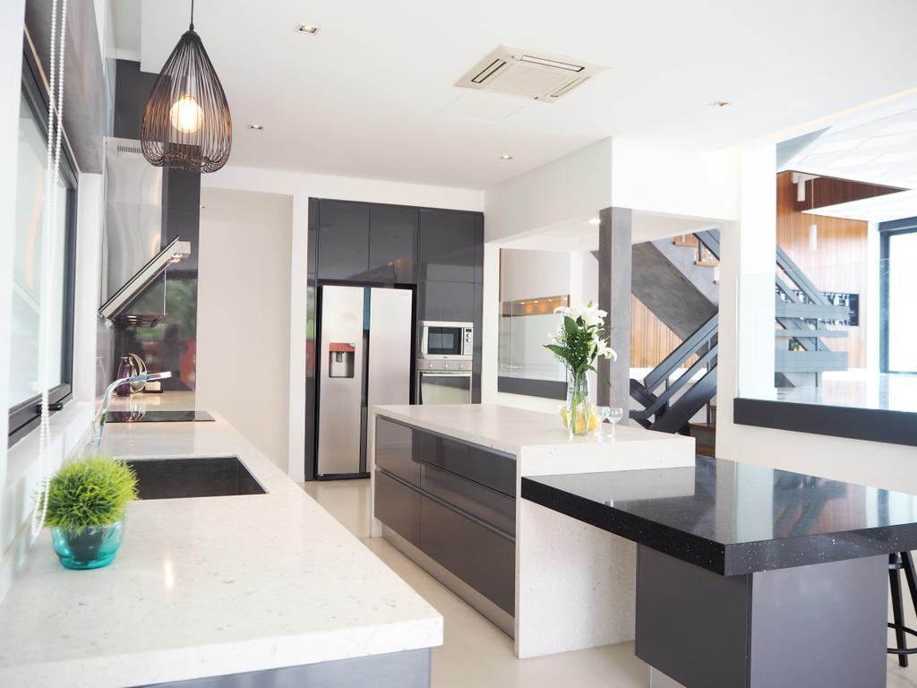 Contemporary, Landed, Kitchen, Bangsar, Interior Designer, Meridian Interior Design, Light Fixture, Indoors, Interior Design, Flora, Jar, Plant, Potted Plant, Pottery, Vase
