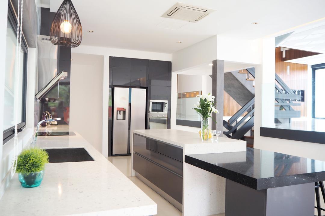 Bangsar, Meridian Interior Design, Contemporary, Kitchen, Landed, Light Fixture, Indoors, Interior Design, Flora, Jar, Plant, Potted Plant, Pottery, Vase