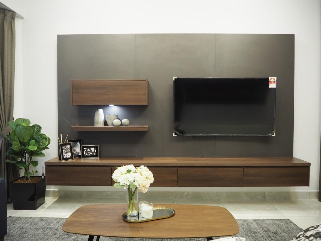 Modern, Landed, Living Room, Ampang, Interior Designer, Meridian Interior Design, Shelf, Flora, Jar, Plant, Potted Plant, Pottery, Vase