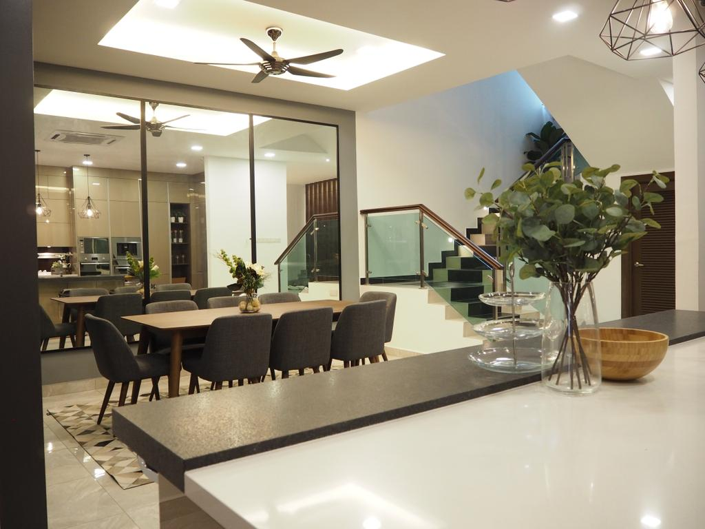 Modern, Landed, Dining Room, Ampang, Interior Designer, Meridian Interior Design, Couch, Furniture, Flora, Jar, Plant, Potted Plant, Pottery, Vase, Indoors, Interior Design, Room, Chair, Projection Screen, Screen, Dining Table, Table, White Board, Sink