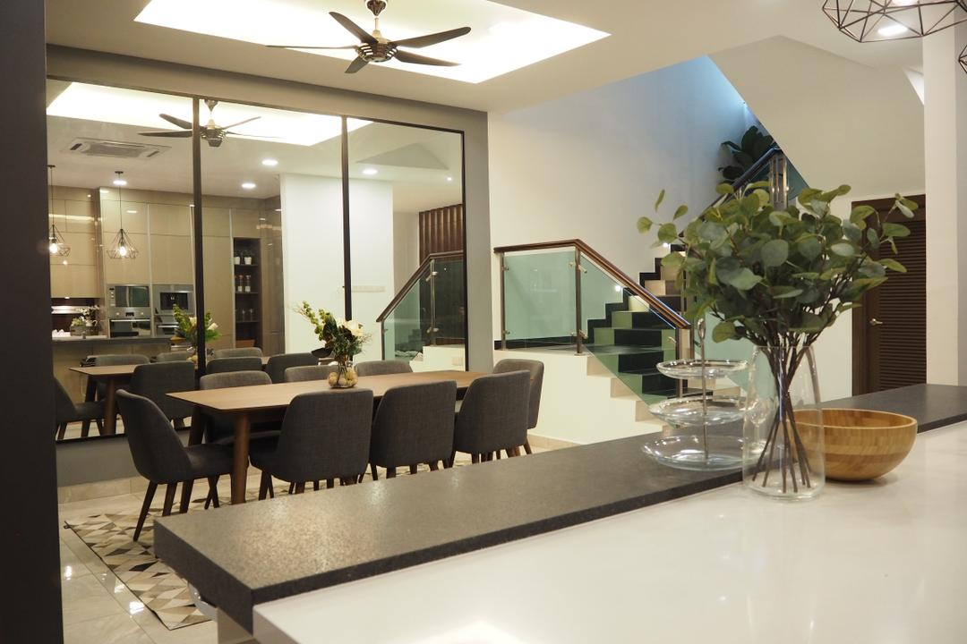 Ampang, Meridian Interior Design, Modern, Dining Room, Landed, Couch, Furniture, Flora, Jar, Plant, Potted Plant, Pottery, Vase, Indoors, Interior Design, Room, Chair, Projection Screen, Screen, Dining Table, Table, White Board, Sink