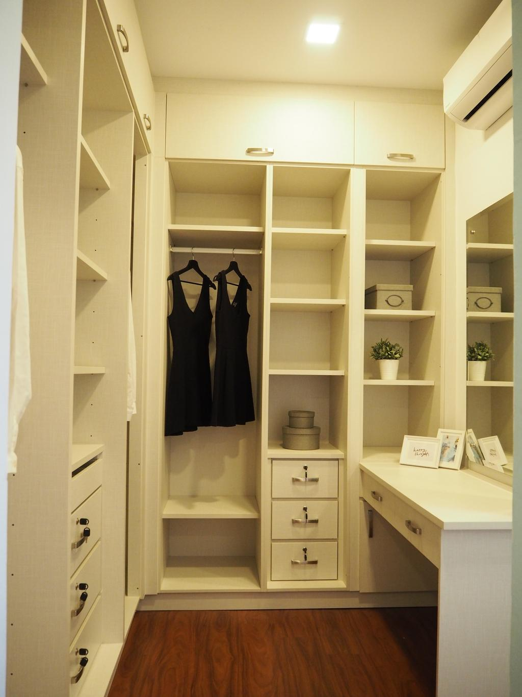 Modern, Landed, Bedroom, Ampang, Interior Designer, Meridian Interior Design, Closet, Cupboard, Furniture