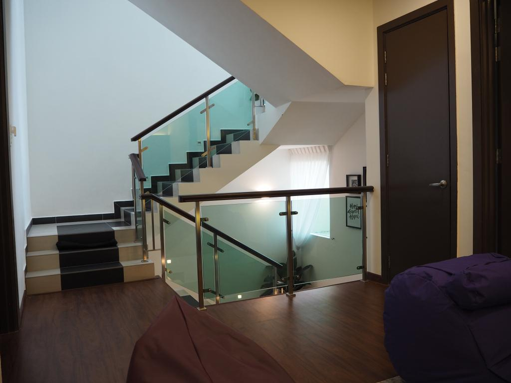 Modern, Landed, Ampang, Interior Designer, Meridian Interior Design, Apartment, Building, Housing, Indoors, Loft, Bedroom, Interior Design, Room, Banister, Handrail, Staircase