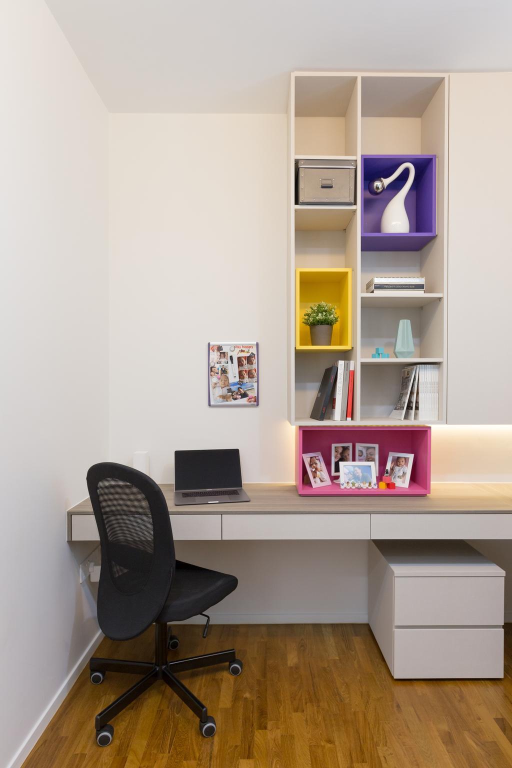 Condo, Study, The Amore, Interior Designer, Prozfile Design, Computer, Electronics, Laptop, Pc, Shelf, Bookcase, Furniture
