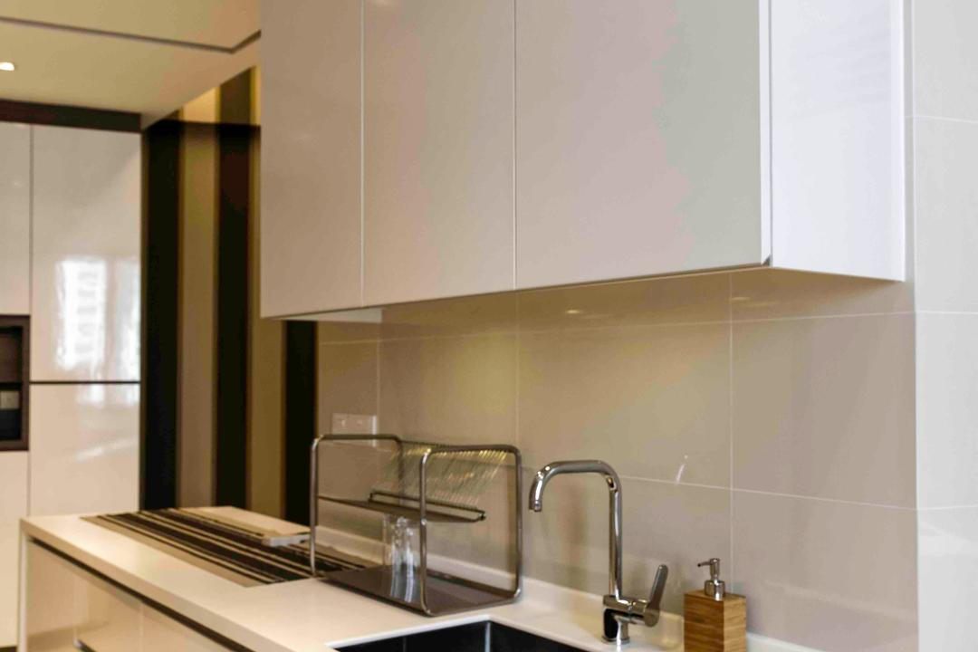 D'Leedon, DB Studio, Modern, Kitchen, Condo, White, Kitchen Cabinet, Counter, Countertop, Surface, Solid Surface, Tile, Clean, Simple, Tap