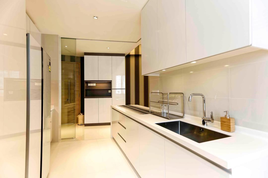 D'Leedon, DB Studio, Modern, Kitchen, Condo, White, Airy, Easy To Clean, Easy To Maintain, Simple, Sink, Indoors, Interior Design