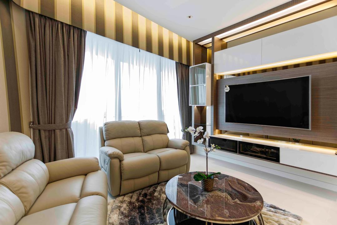 D'Leedon, DB Studio, Modern, Living Room, Condo, Striped, Cove Lighting, Feature Wall, Hotel, Suite, Coffee Table, Marble Table, Curtains, Brown, Taupe, Leather Sofa, Couch, Furniture, Indoors, Room, Chair