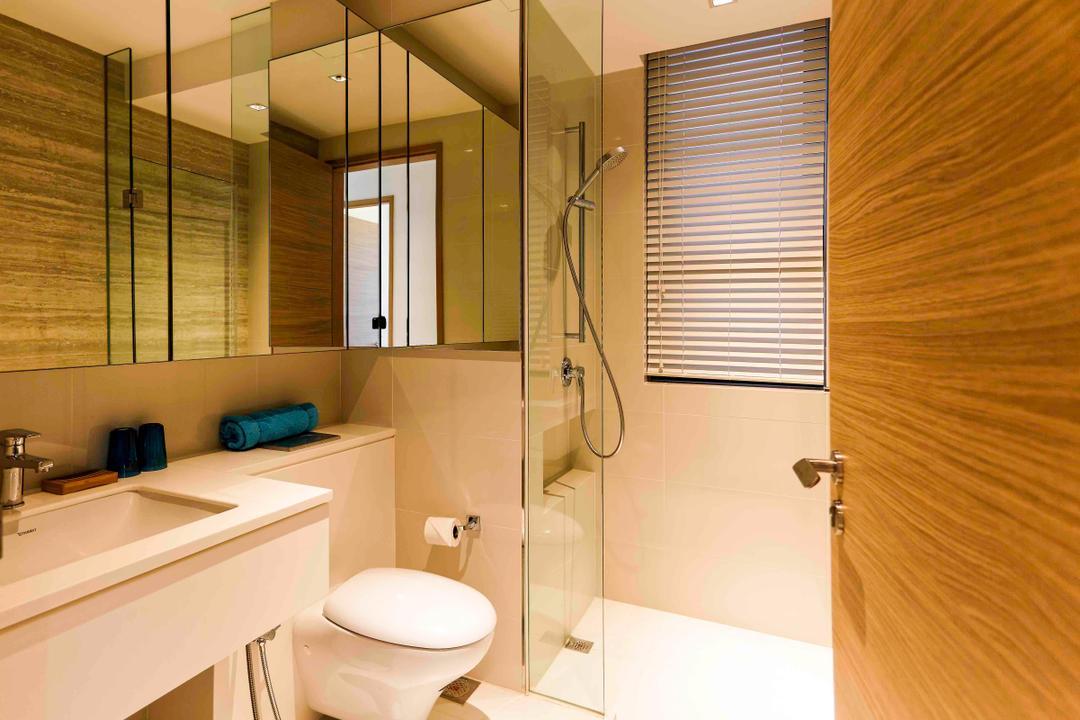 D'Leedon, DB Studio, Modern, Bathroom, Condo, Blinds, Simple, Hotel, Elegant, Suite, Resort, Villa, Mirror, Shower, Partition, Tiles, Indoors, Interior Design, Room