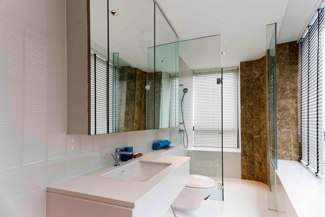 D'Leedon, DB Studio, Modern, Bathroom, Condo, Window Ledge, Ledge, Bathroom Ledge, Blinds, Venetian Blinds, Luxurious, Tiles, White, Simple, Elegant, Toilet, Indoors, Interior Design, Room