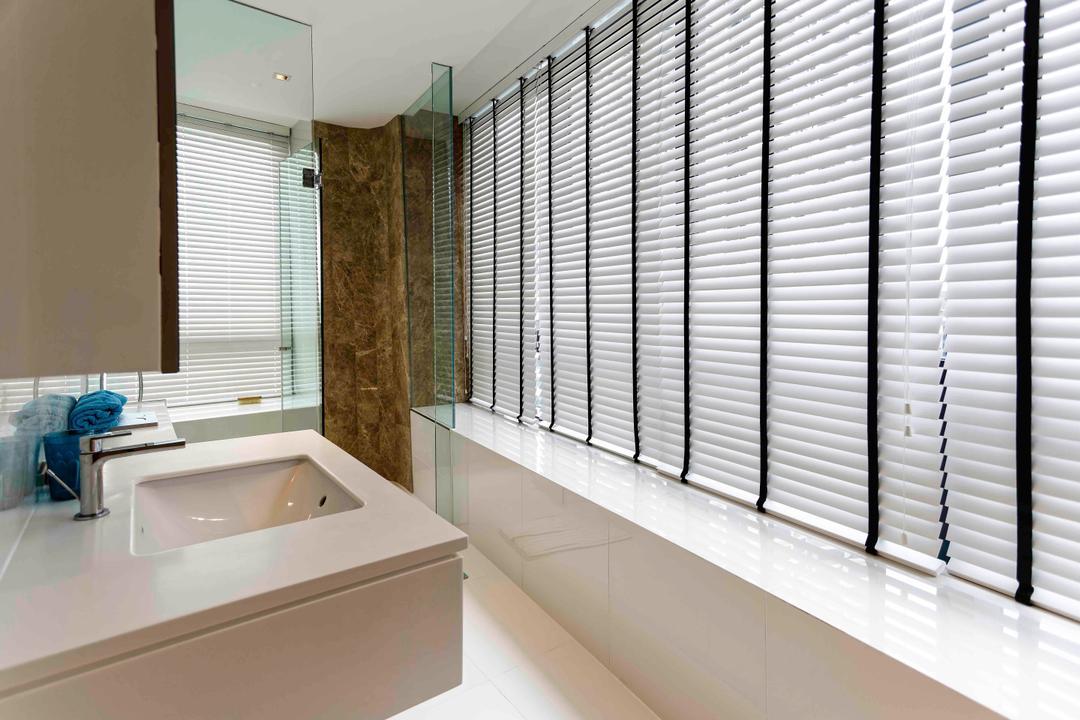 D'Leedon, DB Studio, Modern, Bathroom, Condo, Blinds, Ledge, Sink, White, Airy, Bright, Simple, Hotel, Elegant, Suite, Resort, Villa, Indoors, Interior Design, Room