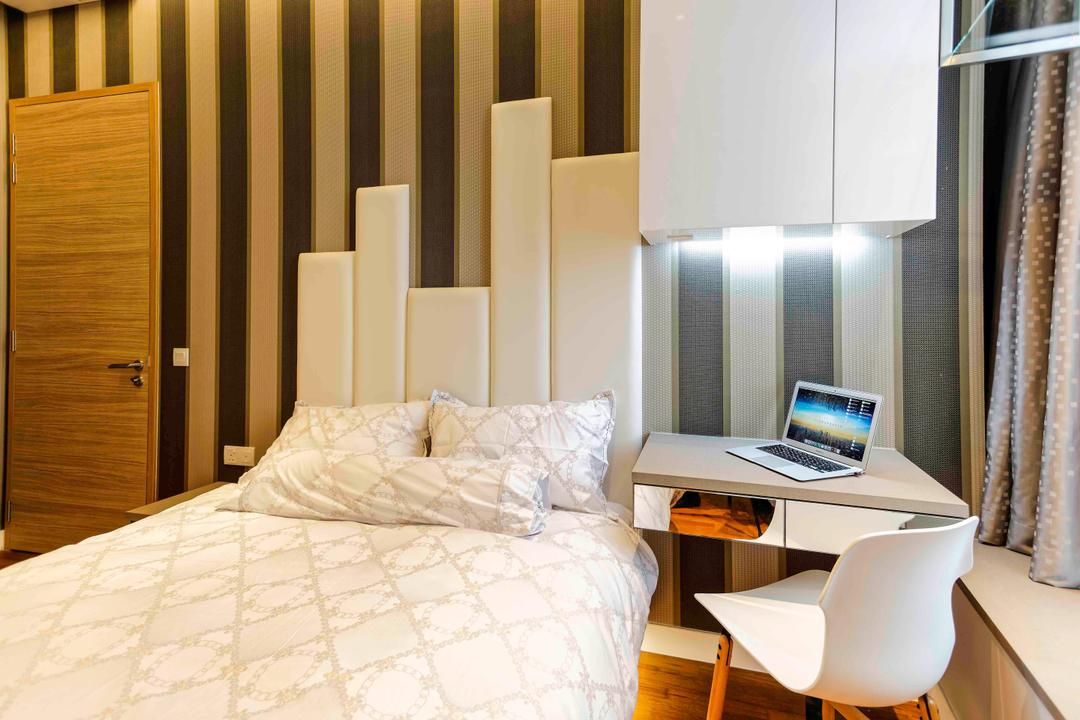 D'Leedon, DB Studio, Modern, Bedroom, Condo, Cushioned Headboard, Study Desk, Bay Window, Window Seat, Window Ledge, Cabinet, Stripes