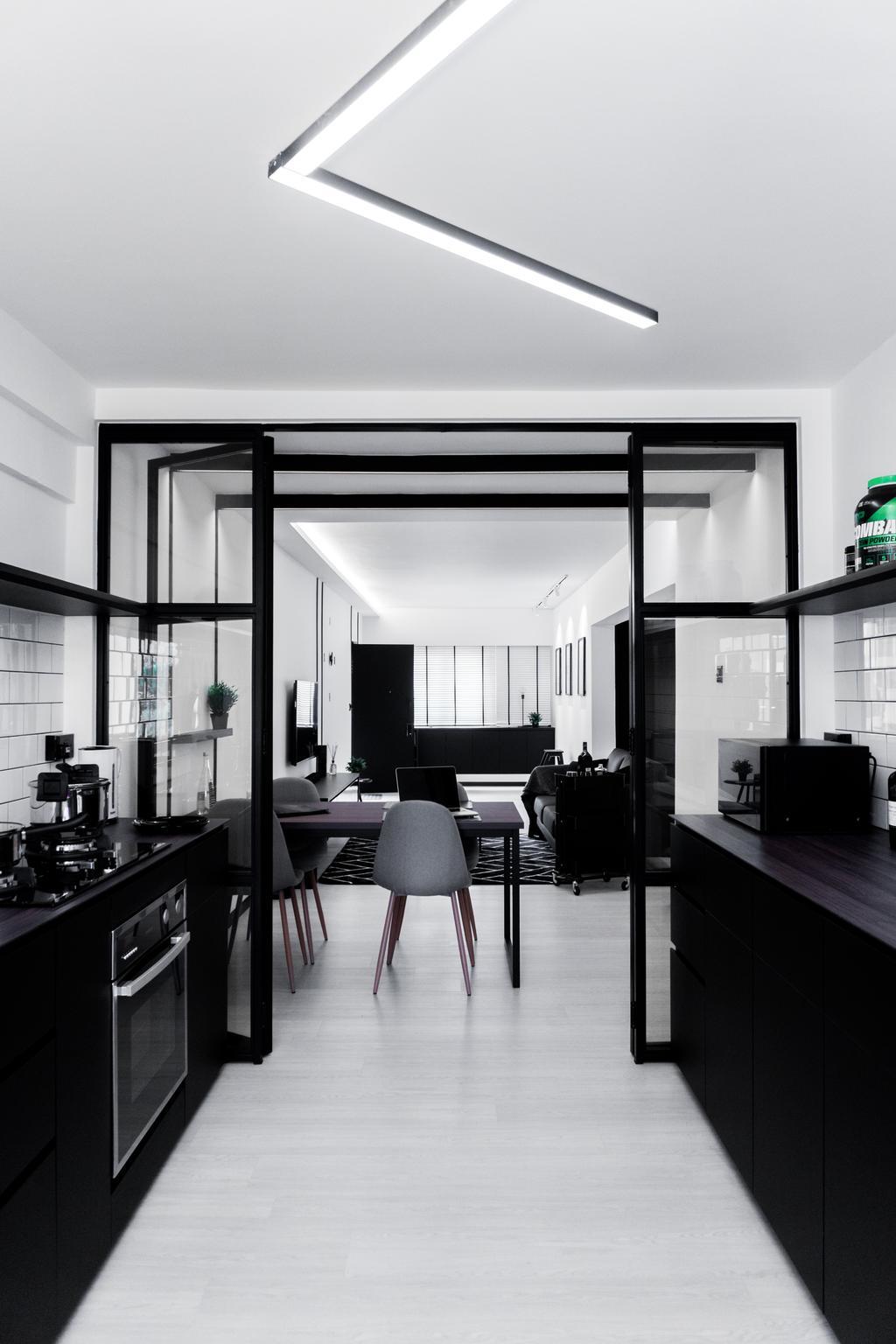 Minimalist, HDB, Kitchen, Ang Mo Kio Avenue 3, Interior Designer, Happe Design Atelier, Chair, Furniture, Dining Table, Table, Building, Housing, Indoors, Loft