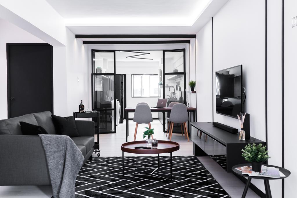 Minimalistic, HDB, Living Room, Ang Mo Kio Avenue 3, Interior Designer, Happe Design Atelier, Couch, Furniture, Indoors, Room, Chair