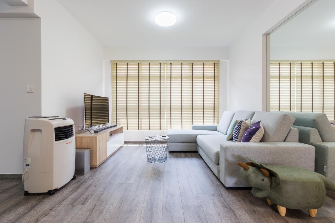 Bukit Batok West Avenue 8, Team Interior Design, Living Room, HDB, Air Conditioner, Couch, Furniture