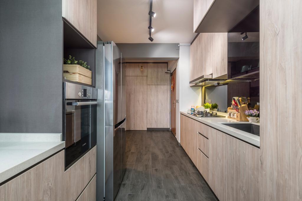 Scandinavian, HDB, Kitchen, Compassvale Bow, Interior Designer, Team Interior Design, Appliance, Electrical Device, Oven, Indoors, Interior Design, Room