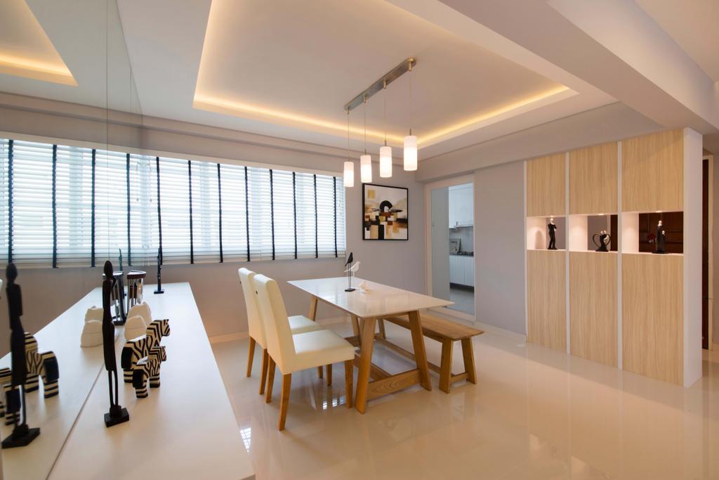 Contemporary, HDB, Dining Room, Yishun Avenue, Interior Designer, Edge Interior, Dining Table, Furniture, Table, Molding, Indoors, Interior Design, Room, Conference Room, Meeting Room