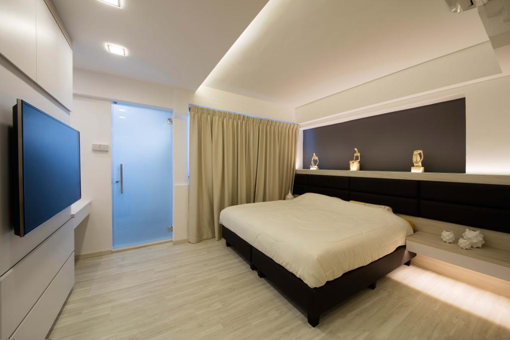 Contemporary, HDB, Bedroom, Yishun Avenue, Interior Designer, Edge Interior, Bed, Furniture, Door, Sliding Door, Indoors, Interior Design