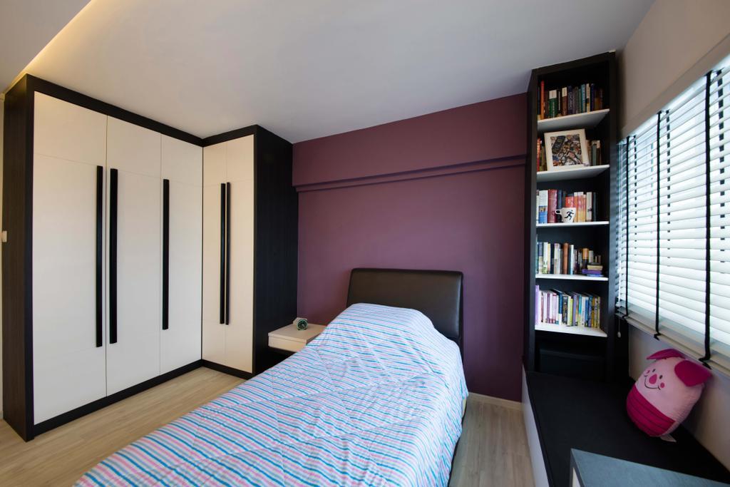 Contemporary, HDB, Bedroom, Yishun Avenue, Interior Designer, Edge Interior, Human, People, Person, Bookcase, Furniture, Indoors, Interior Design, Room