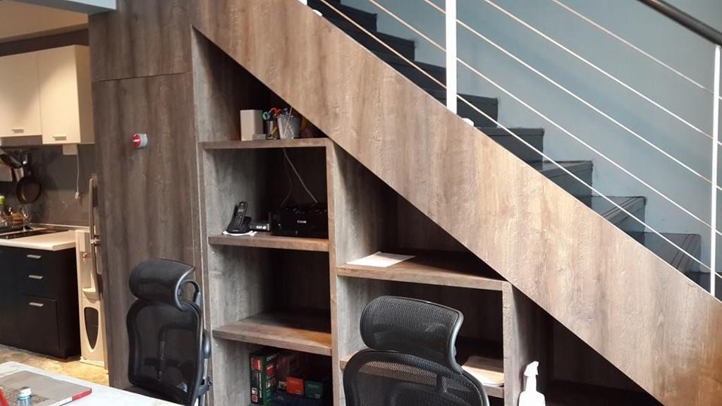Industrial, Condo, Scott Garden @ SOHO, Interior Designer, Icon Factory, Chair, Furniture, Luggage, Suitcase, Plywood, Wood, Bookcase