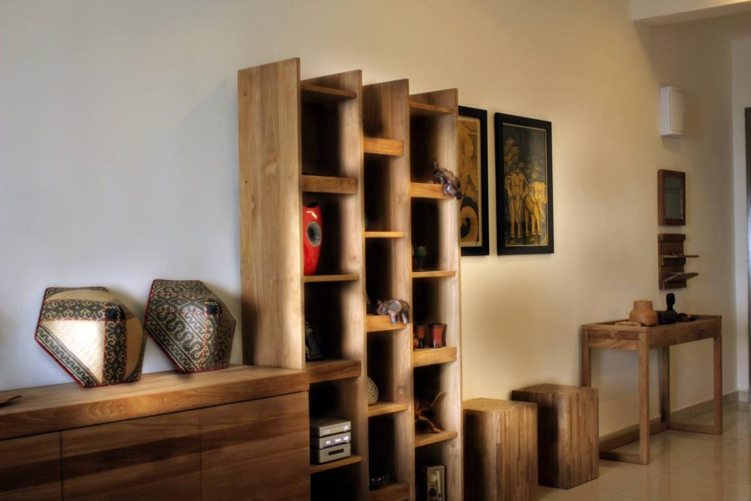 Cheras Heights, Icon Factory, Contemporary, Living Room, Condo, Hardwood, Stained Wood, Wood, Bookcase, Furniture, Shelf