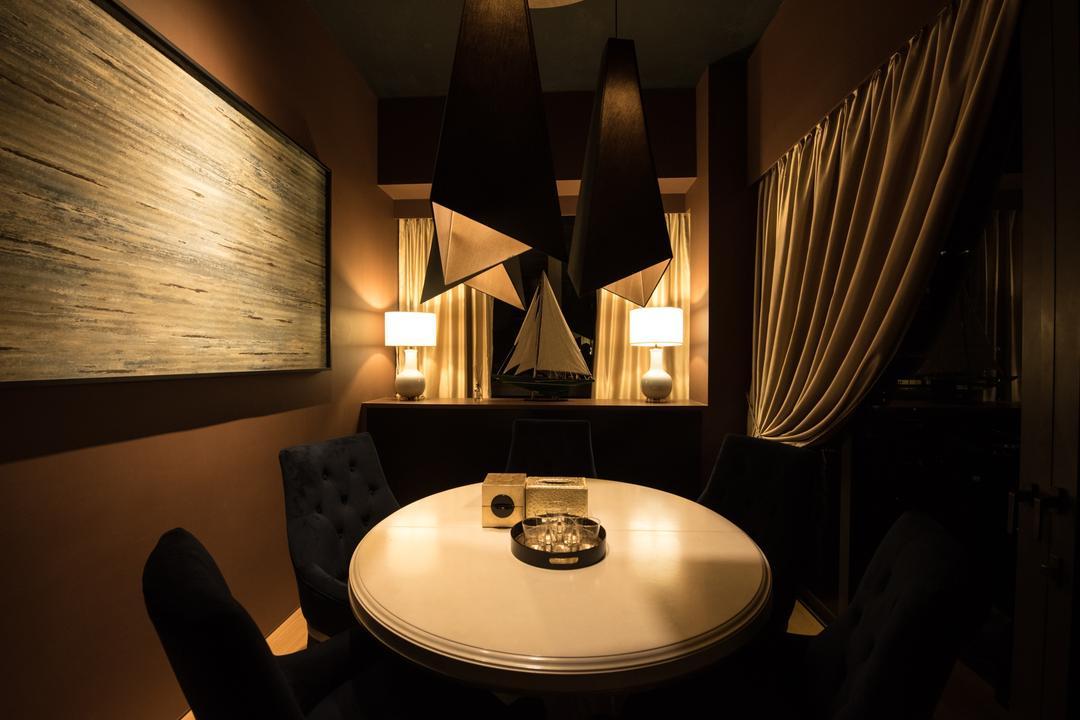 The Cape, Fatema Design Studio, Dining Room, Condo, Lighting, Silhouette, Indoors, Interior Design, Room