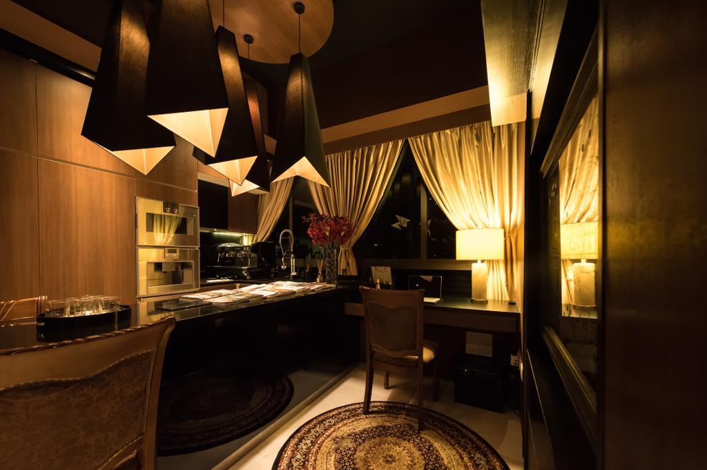 Condo, Study, The Cape, Interior Designer, Fatema Design Studio, Lighting, Appliance, Electrical Device, Oven, Restaurant