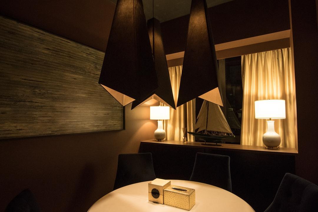 The Cape, Fatema Design Studio, Dining Room, Condo, Couch, Furniture, Lamp, Table Lamp