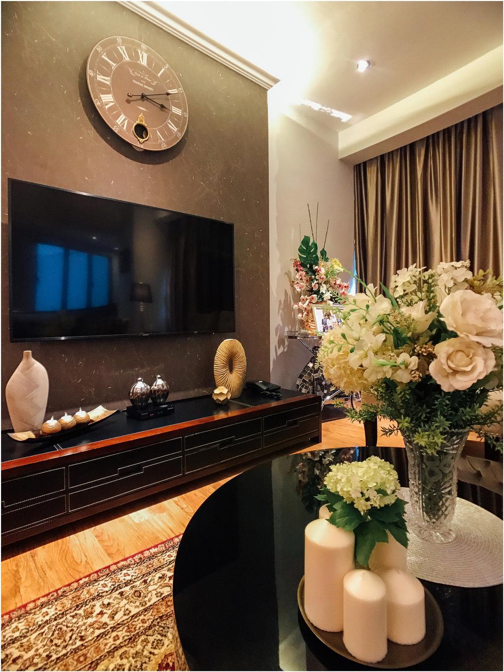 Contemporary, Condo, Living Room, Regent Grove, Interior Designer, Fatema Design Studio, Flora, Jar, Plant, Potted Plant, Pottery, Vase, Appliance, Electrical Device, Oven, Fireplace, Hearth