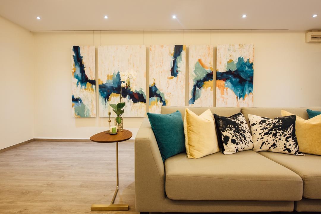 Tampines Street 22, Fatema Design Studio, Scandinavian, Living Room, HDB, Couch, Furniture, Indoors, Interior Design, Art, Painting, Modern Art