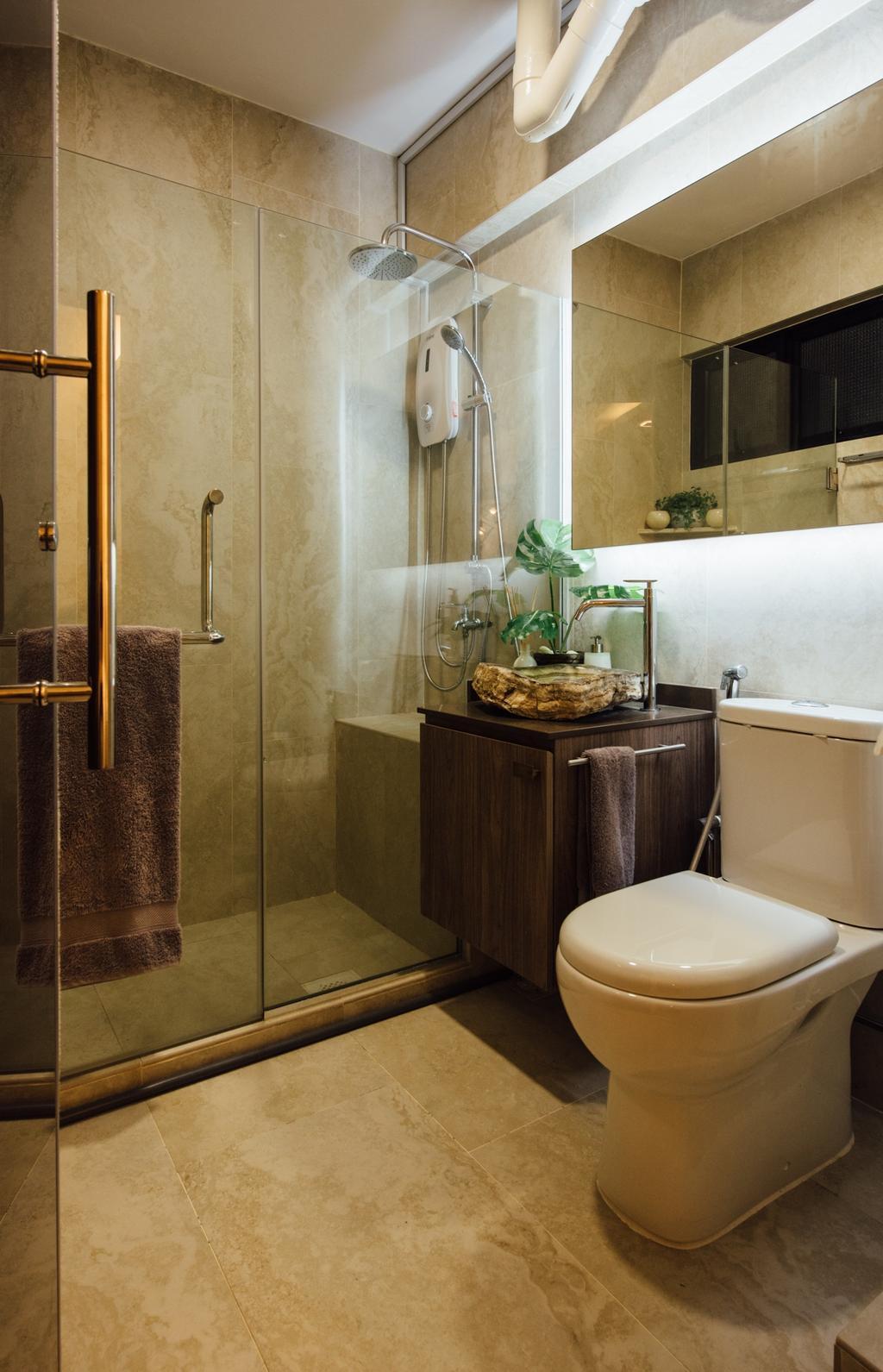 Scandinavian, HDB, Bathroom, Tampines Street 22, Interior Designer, Fatema Design Studio, Flora, Jar, Plant, Potted Plant, Pottery, Vase, Sink, Indoors, Interior Design, Room