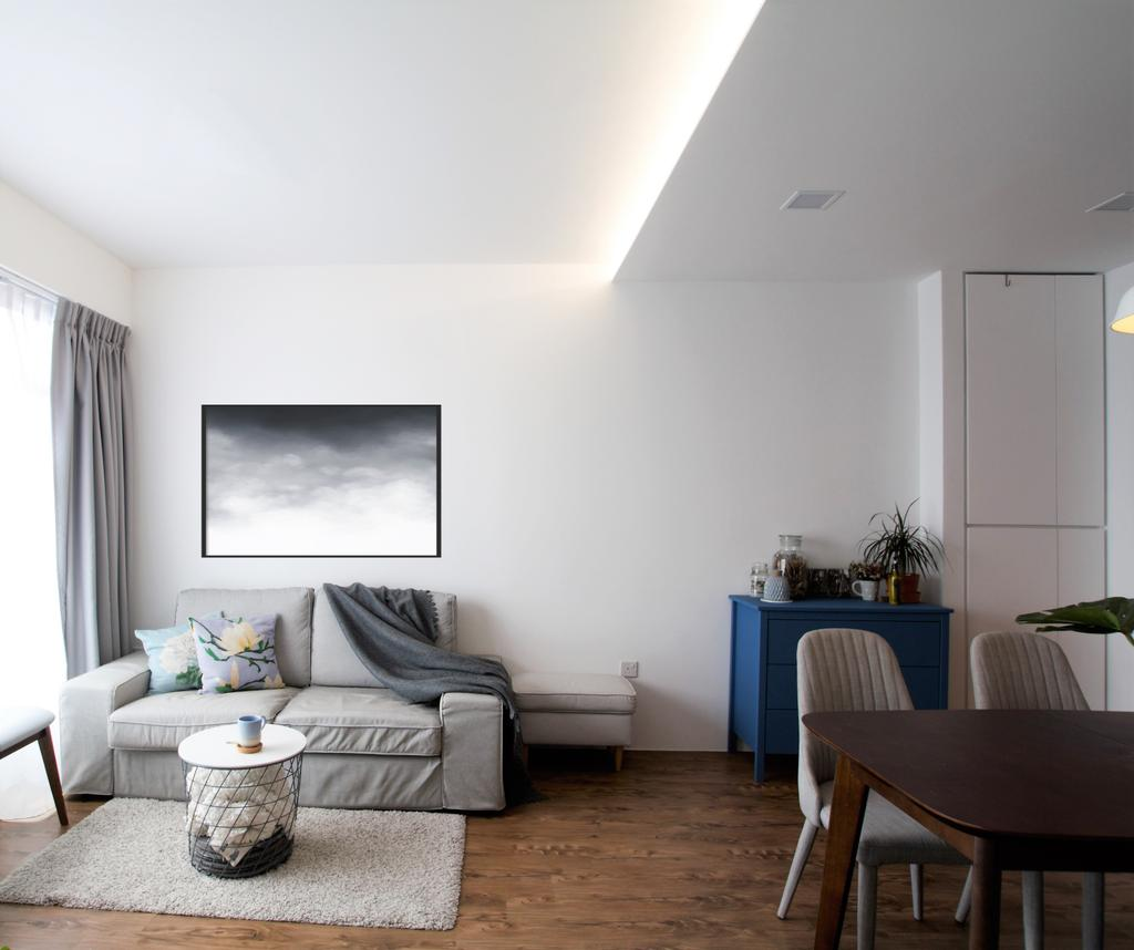 Minimalistic, HDB, Living Room, Jalan Tenteram, Interior Designer, Intrigue-d Design Consultancy, Scandinavian, Couch, Furniture, Indoors, Room