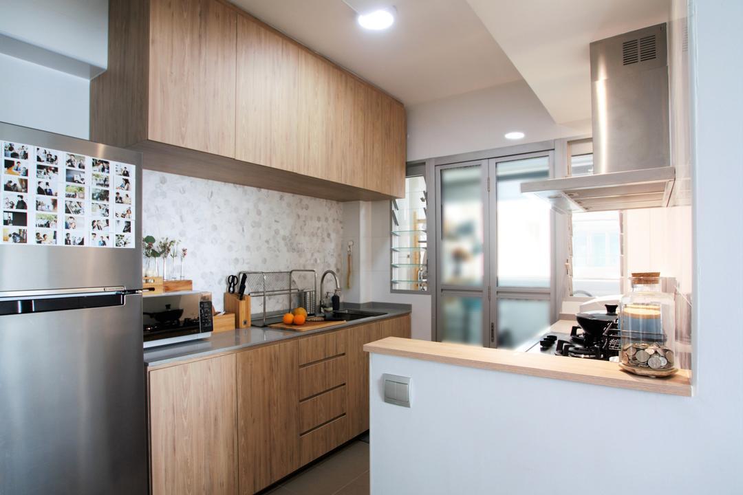 Jalan Tenteram, Intrigue-d Design Consultancy, Minimalistic, Scandinavian, Kitchen, HDB, Indoors, Interior Design, Room, Appliance, Dishwasher, Electrical Device, Furniture, Tabletop