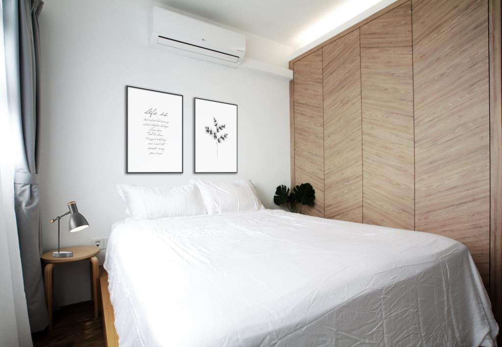 Minimalistic, HDB, Bedroom, Jalan Tenteram, Interior Designer, Intrigue-d Design Consultancy, Scandinavian, Paper, Bed, Furniture, Indoors, Interior Design, Room
