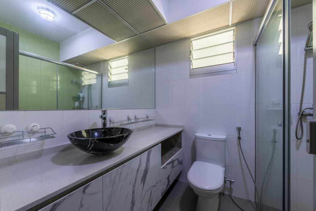 Scandinavian, HDB, Bathroom, Kebun Baru Court, Interior Designer, DreamCreations Interior, Indoors, Interior Design, Room, Plate Rack, Toilet