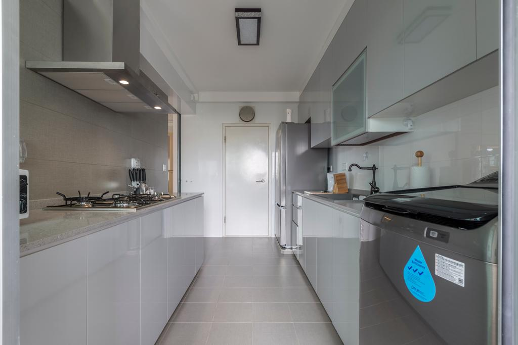 Scandinavian, HDB, Kitchen, Kebun Baru Court, Interior Designer, DreamCreations Interior, Indoors, Interior Design, Room, Sink