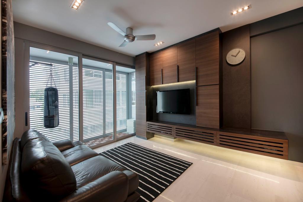 Scandinavian, Condo, Living Room, D' Chateau @ Shelford, Interior Designer, Starry Homestead, Couch, Furniture, Indoors, Interior Design, Electronics, Entertainment Center