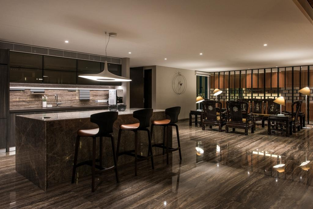Modern, Condo, Kitchen, The Regency (Penang), Architect, 7 Interior Architecture, Chair, Furniture, Bar Stool, Dining Room, Indoors, Interior Design, Room