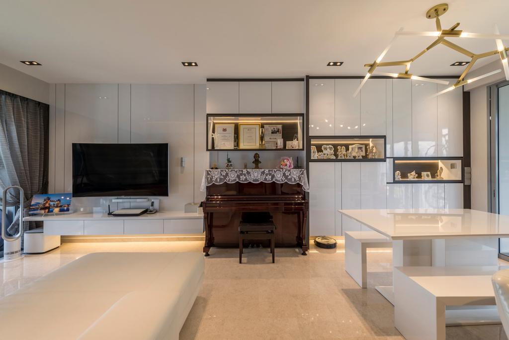 Scandinavian, Condo, Living Room, Rivertrees Residences, Interior Designer, Meter Square, Fireplace, Hearth, Indoors, Interior Design, Light Fixture, Lighting, Bench