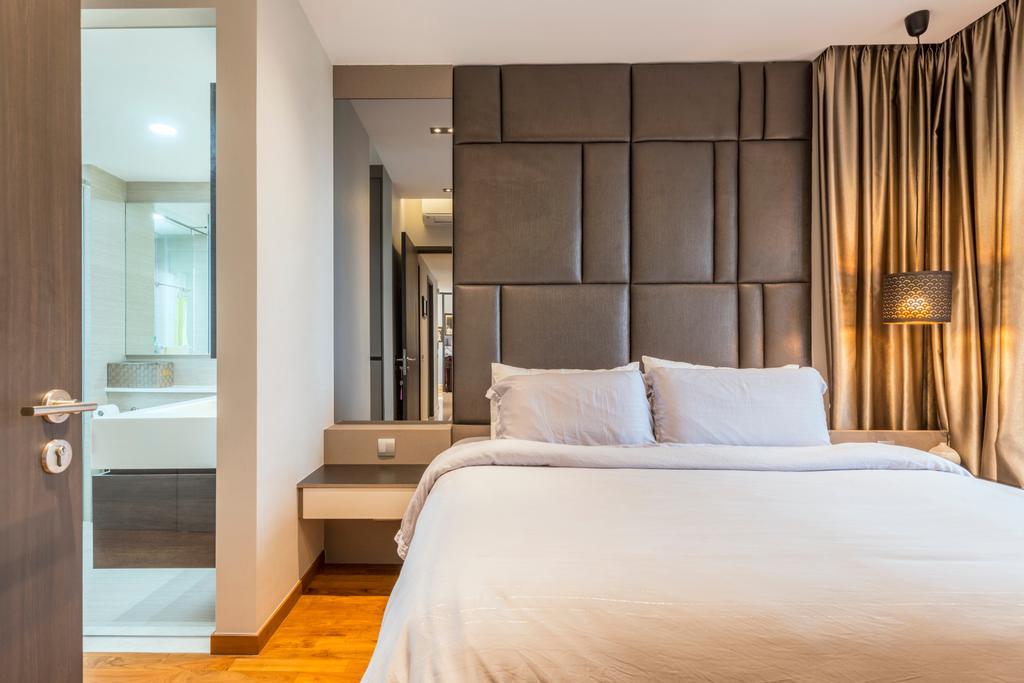 Scandinavian, Condo, Bedroom, Rivertrees Residences, Interior Designer, Meter Square, White Board, Bed, Furniture, Curtain, Home Decor