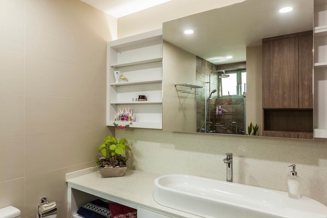 Merah Woods, The Interior Lab, Transitional, Bathroom, Condo, Cabinet, Toiletry, Sink, Tap, Mirror, Sliding Cabinet, Cove Light, Downlight, Down Light, Tiles, Indoors, Interior Design, Room