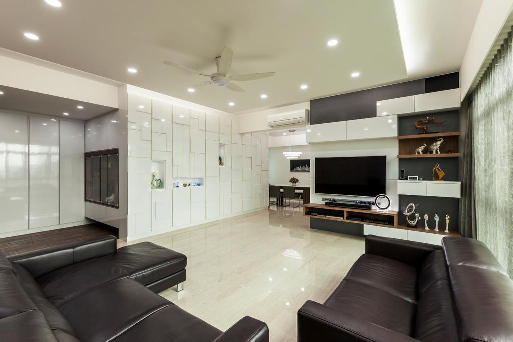 Transitional, Condo, Living Room, Merah Woods, Interior Designer, The Interior Lab, Sofa, White, Tiles, Flooring, Tv, Television, Tv Console, Shelving, Ceiling Fan, Cove Light, Down Light, Curtain, Couch, Furniture, Electronics, Entertainment Center, Home Theater