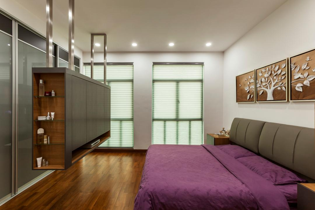 Merah Woods, The Interior Lab, Transitional, Bedroom, Condo, Bed, Bed Frame, Artwork, Cupboard, Blinds, Downlight, Flooring, Hanging Cabinet, Tv Box, Furniture, Indoors, Interior Design, Room, Sideboard