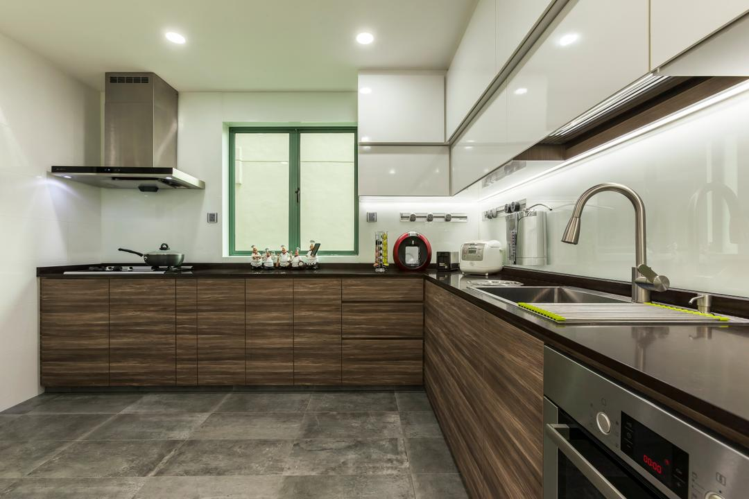 Merah Woods, The Interior Lab, Transitional, Kitchen, Condo, Stove, Hood, Kitchen Hood, Sink, Down Light, Laminate, Tiles, Cement, Drawers, Cabinets, Granite, Oven, Tap, Indoors, Interior Design, Room