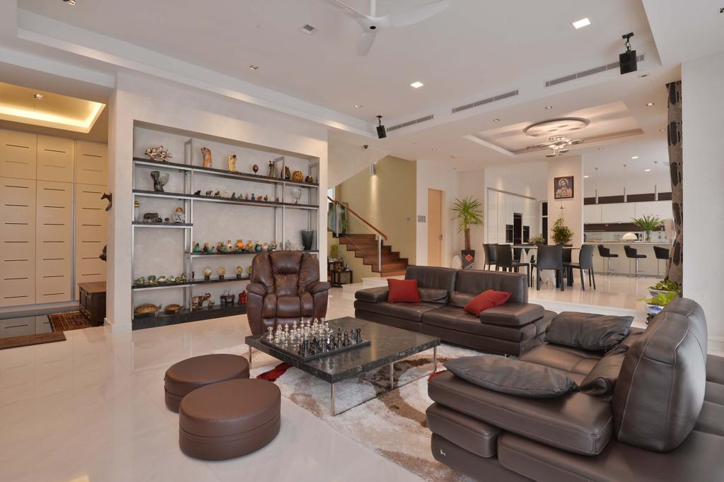 Transitional, Landed, Living Room, Ampang Valley, Interior Designer, Icon Factory, Couch, Furniture, Ottoman, Chess, Game