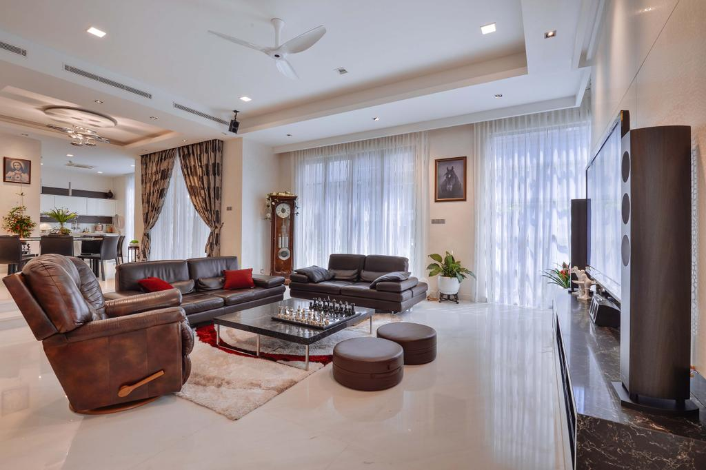 Transitional, Landed, Living Room, Ampang Valley, Interior Designer, Icon Factory, Couch, Furniture, Curtain, Home Decor, Indoors, Interior Design, Dining Room, Room, Chair
